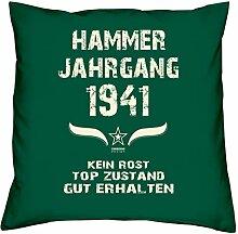 Geschenk Set 77. Geburtstag : Hammer Jahrgang 1941 : Kissen 40 x 40 inkl. Füllung & Urkunde : Geburtstagsgeschenk Männer Frauen Farbe: dunkelgrün