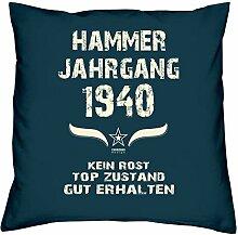 Geschenk Set 78. Geburtstag : Hammer Jahrgang 1940 : Kissen 40 x 40 inkl. Füllung & Urkunde : Geburtstagsgeschenk Männer Frauen Farbe: navy-blau