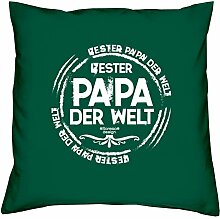 Geschenk-Set :: Bester Papa der Welt :: Kissen komplett inkl. Füllung und Urkunde Tolle Geschenkidee zum Geburtstag Weihnachten Valentinstag Weihnachtsgeschenk Farbe:dunkelgrün