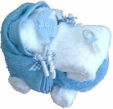 Geschenk Set Frottee Kinderwagen hellblau in Handarbeit geformt aus 2x Gästetuch hellblau, 4x Wachhandschuh weiß