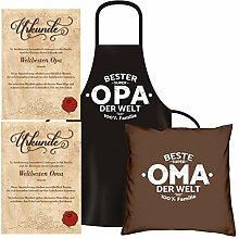Geschenk Set für Oma & Opa : Schürze Kissen Urkunde : Geschenkidee Großeltern