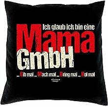Geschenk-Set :: Ich glaub ich bin eine Mama GmbH :: Kissen komplett inkl. Füllung und Urkunde Tolle Geschenk-idee für Weihnachten Geburtstag Valentinstag Weihnachtsgeschenk Farbe:schwarz