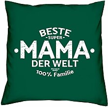 Geschenk-Set : Kissen inkl. Füllung und Urkunde : Beste Mama der Welt Geschenk zum Muttertag : Geschenkidee Muttertagsgeschenk 40x40 Farbe: dunkelgrün