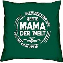 Geschenk-Set : Kissen plus Urkunde : Beste Mama der Welt Persönliche Geschenkidee zum Geburtstag Geburtstagsgeschenk Geschenk idee Kissenbezug und Kissenfüllung Farbe:dunkelgrün