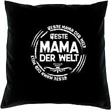 Geschenk-Set : Kissen plus Urkunde : Beste Mama der Welt Persönliche Geschenkidee zum Geburtstag Geburtstagsgeschenk Geschenk idee Kissenbezug und Kissenfüllung Farbe:schwarz