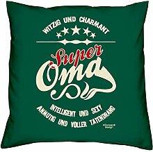 Geschenk-Set :: Super Oma :: Kissen komplett inkl. Füllung und Urkunde Tolle Geschenk-idee für Weihnachten Geburtstag Valentinstag Weihnachtsgeschenk Farbe:dunkelgrün