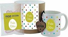 """Geschenk-Set - Tasse + Schlüsselanhänger + Hab-Dich-lieb-Herzen """"Frohe Ostern"""" mit Punkten - Geschenkset - Ostern - Ostergeschenk - Becher - Schlüsselanhänger - Süßigkeiten - Geschenkidee - Geschenkbox"""