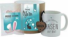 """Geschenk-Set - Tasse + Schlüsselanhänger + Hab-Dich-lieb-Herzen """"Frohe Ostern - Für den süßesten Hasen der Welt"""" (rosa oder blau) - Geschenkset - Ostern - Ostergeschenk - Becher - Schlüsselanhänger - Süßigkeiten - Geschenkidee - Geschenkbox (blau)"""