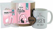 """Geschenk-Set - Tasse + Schlüsselanhänger + Hab-Dich-lieb-Herzen """"Frohe Ostern - Für den süßesten Hasen der Welt"""" (rosa oder blau) - Geschenkset - Ostern - Ostergeschenk - Becher - Schlüsselanhänger - Süßigkeiten - Geschenkidee - Geschenkbox (rosa)"""