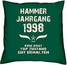 Geschenk-Set zum 19. Geburtstag : Hammer Jahrgang 1998 : Kissen & Urkunde Geschenkidee Geburtstagsgeschenk für Männer und Frauen inkl. Kissenfüllung Farbe:dunkelgrün
