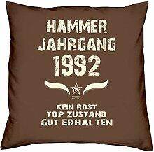 Geschenk-Set zum 25. Geburtstag : Hammer Jahrgang 1992 : Kissen & Urkunde Geschenkidee Geburtstagsgeschenk für Männer und Frauen inkl. Kissenfüllung Farbe:braun