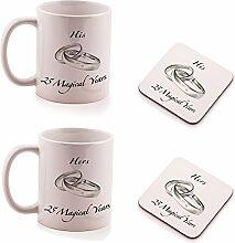Geschenk-Set zum 25ten Hochzeits-Jubiläum, Tasse und Untersetzer, Design: His & Hers, Geschenk-Set, je 2 Stück