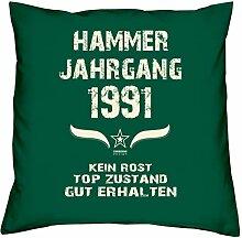 Geschenk-Set zum 26. Geburtstag : Hammer Jahrgang 1991 : Kissen & Urkunde Geschenkidee Geburtstagsgeschenk für Männer und Frauen inkl. Kissenfüllung Farbe:dunkelgrün