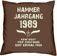 Geschenk-Set zum 28. Geburtstag : Hammer Jahrgang 1989 : Kissen & Urkunde Geschenkidee Geburtstagsgeschenk für Männer und Frauen inkl. Kissenfüllung Farbe:braun