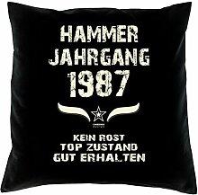 Geschenk-Set zum 30. Geburtstag : Hammer Jahrgang 1987 : Kissen & Urkunde Geschenkidee Geburtstagsgeschenk für Männer und Frauen inkl. Kissenfüllung Farbe:schwarz