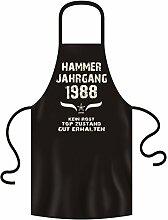 Geschenk Set zum 30. Geburtstag : Hammer Jahrgang 1988 : Schürze & Urkunde Geburtstagsgeschenk Geschenkidee Männer Frauen in: schwarz