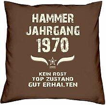 Geschenk-Set zum 47. Geburtstag : Hammer Jahrgang 1970 : Kissen & Urkunde Geschenkidee Geburtstagsgeschenk für Männer und Frauen inkl. Kissenfüllung Farbe:braun