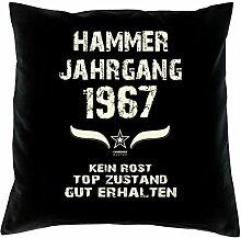 Geschenk-Set zum 50. Geburtstag : Hammer Jahrgang 1967 : Kissen & Urkunde Geschenkidee Geburtstagsgeschenk für Männer und Frauen inkl. Kissenfüllung Farbe:schwarz