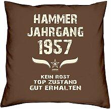 Geschenk-Set zum 60. Geburtstag : Hammer Jahrgang 1957 : Kissen & Urkunde Geschenkidee Geburtstagsgeschenk für Männer und Frauen inkl. Kissenfüllung Farbe:braun