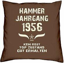 Geschenk-Set zum 61. Geburtstag : Hammer Jahrgang 1956 : Kissen & Urkunde Geschenkidee Geburtstagsgeschenk für Männer und Frauen inkl. Kissenfüllung Farbe:braun