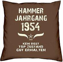 Geschenk-Set zum 63. Geburtstag : Hammer Jahrgang 1954 : Kissen & Urkunde Geschenkidee Geburtstagsgeschenk für Männer und Frauen inkl. Kissenfüllung Farbe:braun