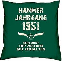 Geschenk-Set zum 66. Geburtstag : Hammer Jahrgang 1951 : Kissen & Urkunde Geschenkidee Geburtstagsgeschenk für Männer und Frauen inkl. Kissenfüllung Farbe:dunkelgrün