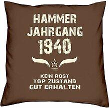 Geschenk-Set zum 77. Geburtstag : Hammer Jahrgang 1940 : Kissen & Urkunde Geschenkidee Geburtstagsgeschenk für Männer und Frauen inkl. Kissenfüllung Farbe:braun