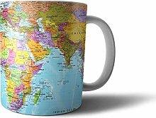 Geschenk Tasse Modernes Weltkarten-Design