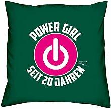 Geschenk zum 20. Geburtstag für Frauen Powergirl Power Woman seit 20 Jahren Sofa Kissen mit Füllung Größe: 40x40 cm