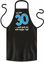 Geschenk zum 30. Geburtstag :-: Geschenkidee für Sie und Ihn für Frauen und Männer :-: Grillschürze Kochschürze :-: 30. echt heißer Typ :-: Farbe: schwarz