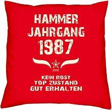Geschenk zum 30. Geburtstag : Hammer Jahrgang 1987 : Geschenkidee für Sie und Ihn : Geburtstagsgeschenk für Männer und Frauen Kissenhülle & Kissen-füllung Farbe:ro
