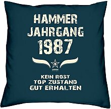 Geschenk zum 30. Geburtstag : Hammer Jahrgang 1987 : Geschenkidee für Sie und Ihn : Geburtstagsgeschenk für Männer und Frauen Kissenhülle & Kissen-füllung Farbe:navy-blau