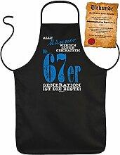 Geschenk zum 50. Geburtstag Schürze mit Urkunde Männer 67er Generation zum 50 Geburtstag Küchenschürze 50 jähriger Geschenk für 50 Jährige