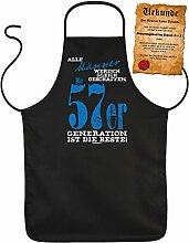 Geschenk zum 61. Geburtstag Schürze mit Urkunde Männer 57er Generation zum 61 Geburtstag Küchenschürze 61 jähriger Geschenk für 61 Jährige
