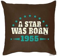 Geschenk zum 63. Geburtstag Geschenkidee Polster Kissen mit Füllung A Star was Born 1955 Geschenk zum 63 Geburtstag Polster 63 Jahre