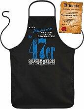 Geschenk zum 70. Geburtstag Schürze mit Urkunde Männer 47er Generation zum 70 Geburtstag Küchenschürze 70 jähriger Geschenk für 70 Jährige