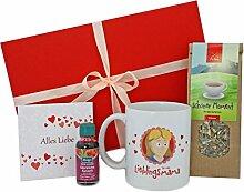 Geschenk zum Muttertag * Muttertaggeschenk Tee, Tasse, Badeöl + GRATIS Karte * Geschenkidee zum Muttertag – Geschenke für Mütter - Geschenkset zum Muttertag - Mama Geschenk - Geschenk Muttertag MyOma