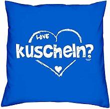 Geschenk zum Valentinstag :: kuscheln :: Romantische Geschenkidee Valentinstagsgeschenk für Frauen & Männer:: Kissen inkl. Füllung Farbe: royal-blau