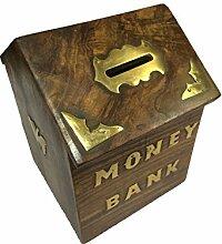 Geschenk zum Vater am Vatertag Frauen-Tagesgeschenk Handgefertigte Holzspardose Sichere Piggy Bank für Mädchen und Jungen, Antike hölzerne Sparbüchse , Münzen-Piggy Bank