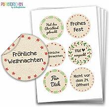 Geschenkaufkleber - Sticker zur Dekoration von Geschenken - Fröhliche Weihnachten - Aufkleber Weihnachten - Weihnachtsaufkleber - Design Nr 4