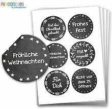 Geschenkaufkleber - Sticker zur Dekoration von Geschenken - Fröhliche Weihnachten (schwarz weiß) - Aufkleber Weihnachten - Weihnachtsaufkleber - Design Nr 5