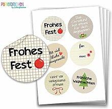 Geschenkaufkleber - Sticker zur Dekoration von Geschenken - Frohes Fest - Aufkleber Weihnachten - Weihnachtsaufkleber - Design Nr 2