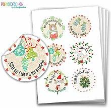 Geschenkaufkleber - Sticker zur Dekoration von Geschenken - Mit viel Liebe ausgesucht - Aufkleber Weihnachten - Weihnachtsaufkleber - Design Nr 6