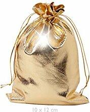 Geschenkbeutel 25 Stück Geschenksäckchen Gold 10