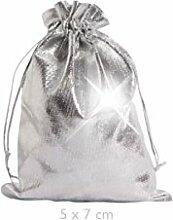 Geschenkbeutel 25 Stück Geschenksäckchen Silber,