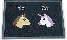 Geschenkbox Die Fußmatte Einhorn und Pferd für