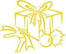 Geschenkbox, Größe 60 cm Breite, Farbe Gelb Geschenkbox Aufkleber, Geschenke, Fenster, Wand Aufkleber, Weihnachten, ThatVinylPlace