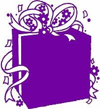 Geschenkbox, Größe 60 cm Breite, Farbe Purpple Geschenkbox Aufkleber, Geschenke, Fenster, Wand Aufkleber, Weihnachten, ThatVinylPlace