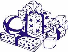 Geschenkbox, Größe 60 cm Breite, Farbe Sapphire Blue Geschenkbox Aufkleber, Geschenke, Fenster, Wand Aufkleber, Weihnachten, ThatVinylPlace