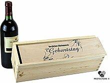 Geschenkbox - Weinkiste für 1 Flasche Wein - Herzlichen Glückwunsch zum Geburtstag - Geschenkidee - Verpackung - Holzkiste mit Schiebedeckel - Fichte
